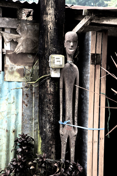 Old totem and electricity meter