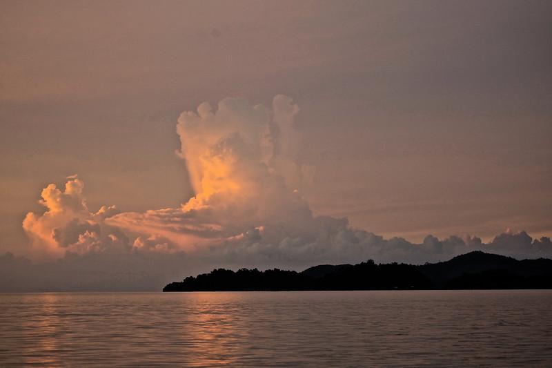 Glowing cloud tower
