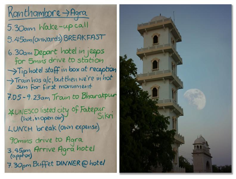 Itinerary - Moon set