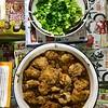 黄焖鸡,炒青菜