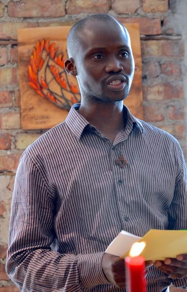 Postulant Herbert Liassidji does a reading