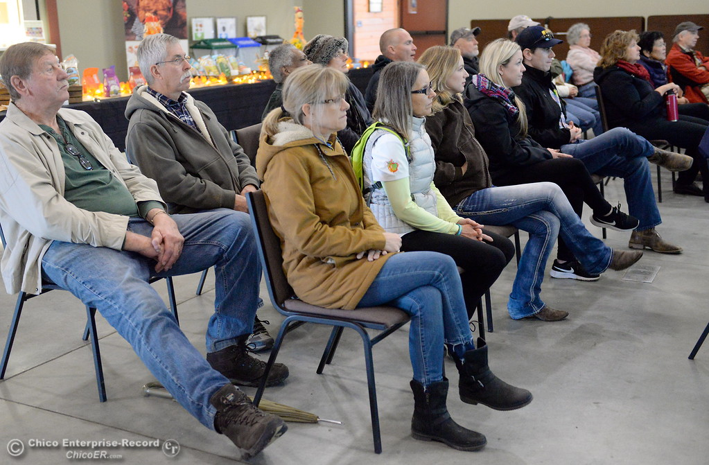 . People listen as Lundberg Family Farms CEO Grant Lundberg speaks during the 2017 Farm City Bus Tour Wednesday Nov. 8, 2017. (Bill Husa -- Enterprise-Record)