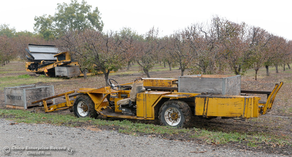 . Harvesting equipment sits near an orchard at Sohnrey Family Foods in Durham, Calif. during the 2017 Farm City Bus Tour Wednesday Nov. 8, 2017. (Bill Husa -- Enterprise-Record)