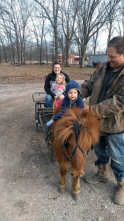 Becky, niece Harper, son Colton and dad Jake take Red Pony for a Sunday drive. Submitted by Rebecca Carter