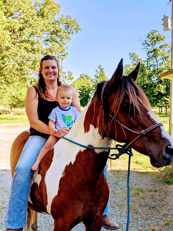 Becky and Colton Carter out for a Sunday ride on mom's old horse, Topaz.<br /> Submitted by Rebecca Carter