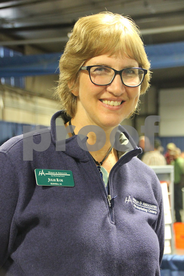 Seen here is: Julie Roe, one of many vendors on hand at the Farm News Ag show. On Wednesday, December 2, and Thursday, December 3, 2015, The Farm News Ag Show was held at the Iowa Central Community College East campus, in Fort Dodge.