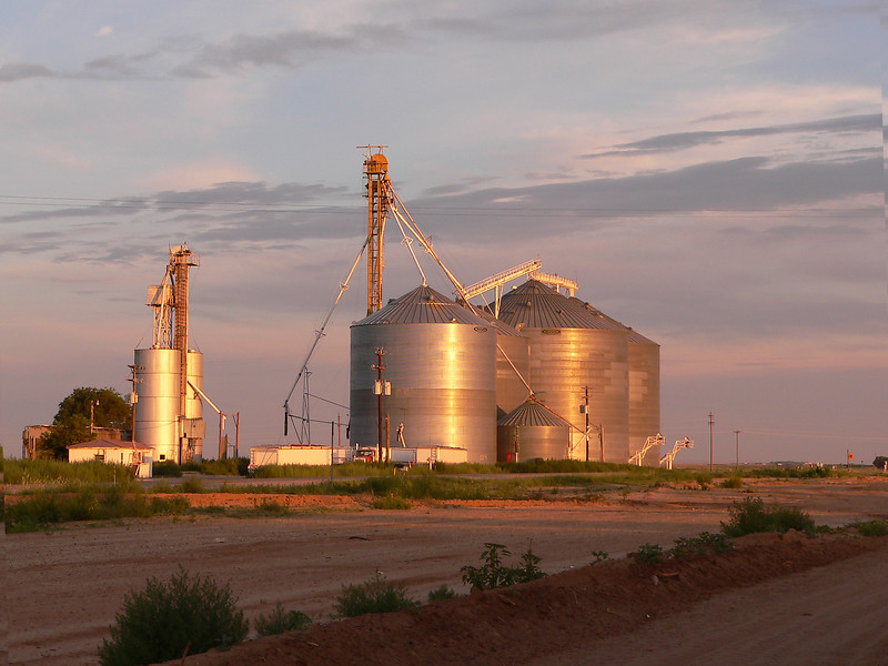 Early morning grain elevators tanks in west Texas.