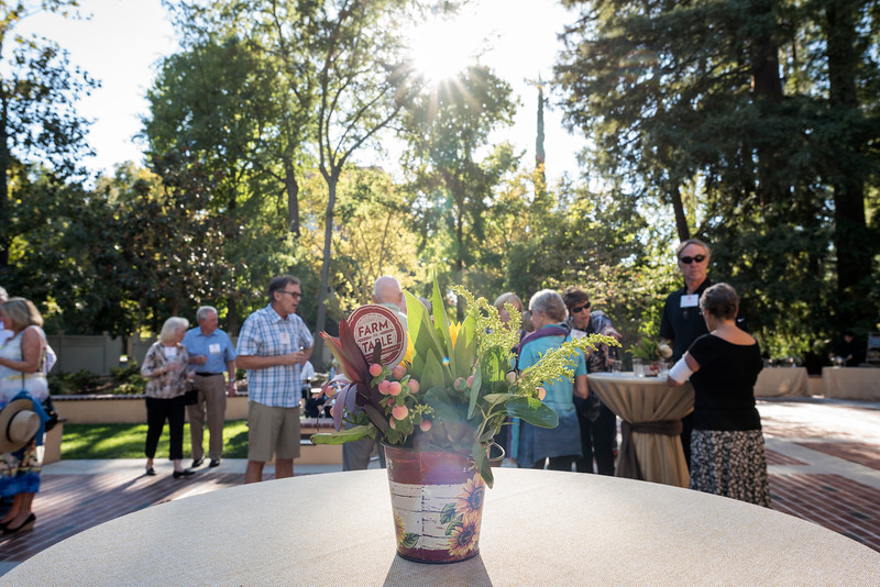 Decorations were on display as Tower Society guests enjoy the Farm to Table event at the Warrens Reception Center on Saturday, October 7, 2017 in Chico, Calif.<br /> (Jason Halley/University Photographer)