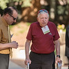 Ahmad Boura (VPUA) (left) talks with George Parrott (right) as Tower Society guests enjoy the Farm to Table event at the Warrens Reception Center on Saturday, October 7, 2017 in Chico, Calif.<br /> (Jason Halley/University Photographer)