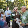 Eddie Vela (Dean, BSS) (center) and Tower Society guests enjoy the Farm to Table event at the Warrens Reception Center on Saturday, October 7, 2017 in Chico, Calif.<br /> (Jason Halley/University Photographer)