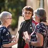 President Gayle Hutchinson (center) talks with Tower Society guests enjoy the Farm to Table event at the Warrens Reception Center on Saturday, October 7, 2017 in Chico, Calif.<br /> (Jason Halley/University Photographer)