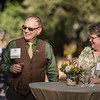 Eddie Vela (Dean, BSS) (left), Susan Blackford (right) and Tower Society guests enjoy the Farm to Table event at the Warrens Reception Center on Saturday, October 7, 2017 in Chico, Calif.<br /> (Jason Halley/University Photographer)