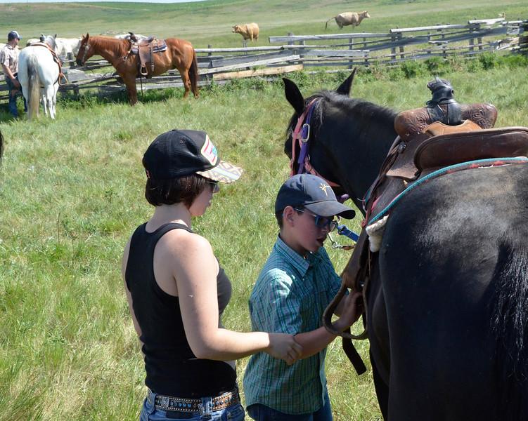 Girl and boy adjust saddle on horse