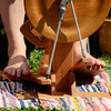 Bare feet on the spinning wheel. Fiber Twist, 9/16/12.