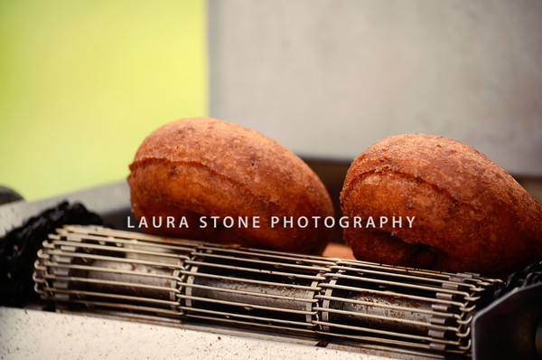 Faddy's Donuts, hot off the conveyor.