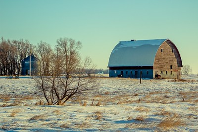 Abandoned barn and silo in rural South Dakota.