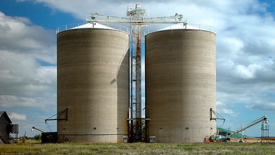 Grain silos at Gindie which is just south of Emerald in Queensland. A big grain growing area.