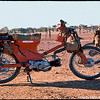 Honda farm bikes on a sheep station in Cunnamulla shire.  1959