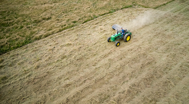Aerial photo of hay cutting