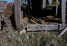 """Sill beam and field stone foundation details from the barn. The timbers were hand-hewn, with mortice and tenon joinery fastened by wooden """"treenails""""."""