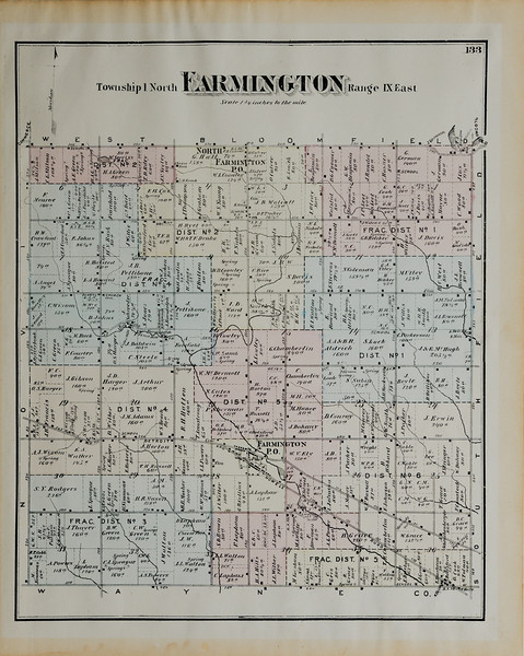 From the Atlas of Oakland County, 1872 - This is from the first bound atlas of Oakland County and it is the first map to show the dwelling locations. Map courtesy of the Farmington Hills Heritage and History Center.