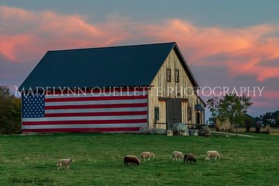 Patriotic Farm at Sunset