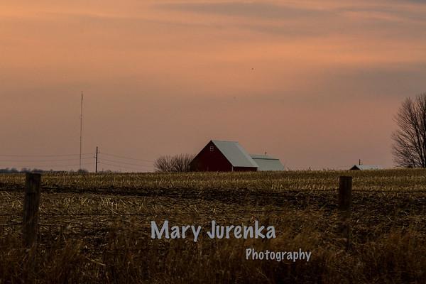 Iowa Barn at Sunset