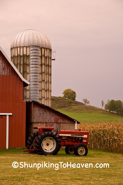 Farm with International Tractor at Dawn, Richland County, Wisconsin