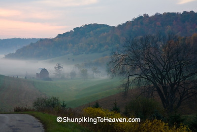 Foggy Autumn Morning Farm Scene, Richland County, Wisconsin