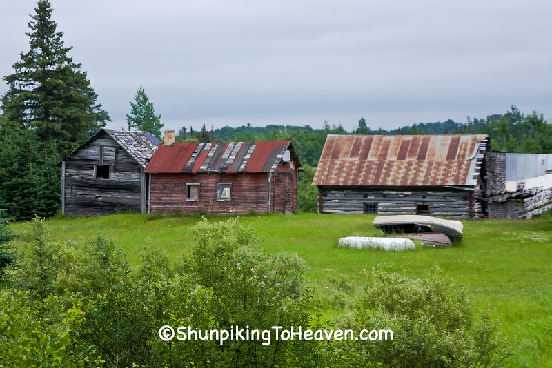 Farm Scene with Log Barn, St Louis County, Minnesota