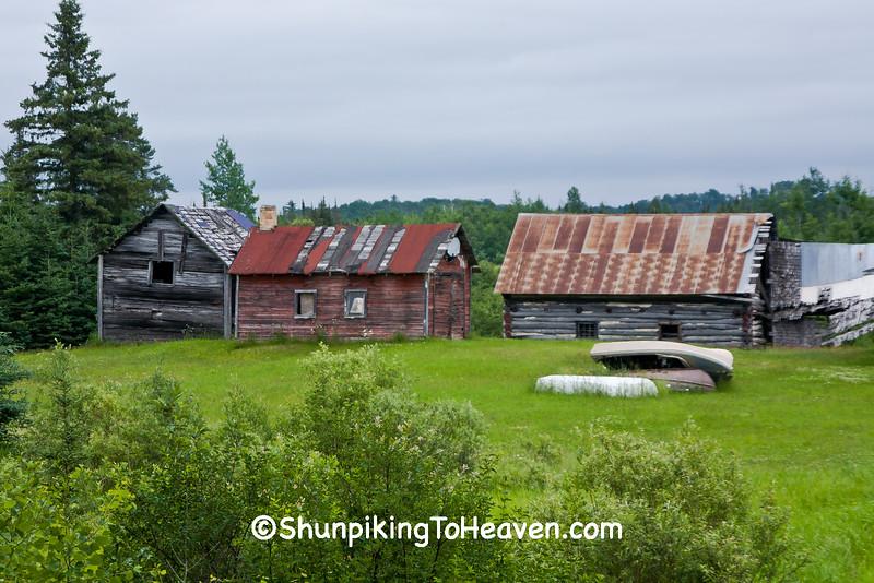 Farm Scene with Log Barn, St Louis County, Minnesota