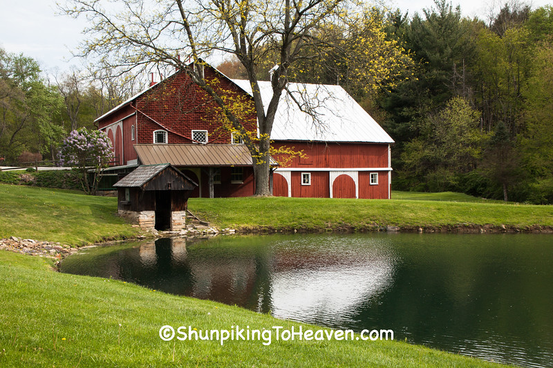 Red Barn and Springhouse on Pond, Richland County, Ohio