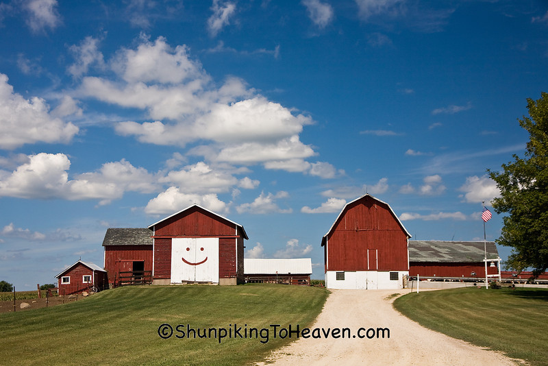 Farm with Smiley Face on Corn Crib, Dane County, Wisconsin