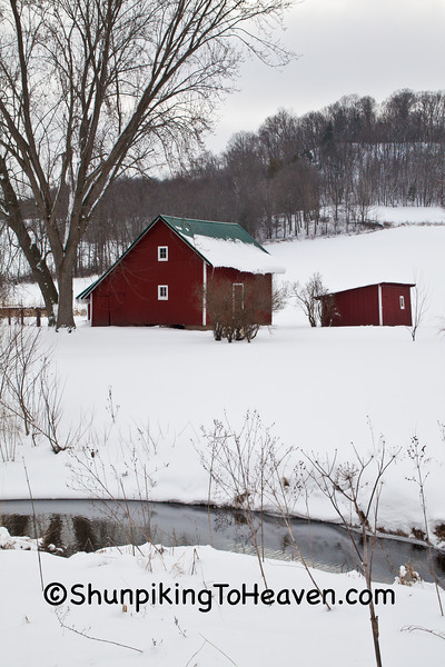 Red Outbuildings and Creek, Vernon County, Wisconsin