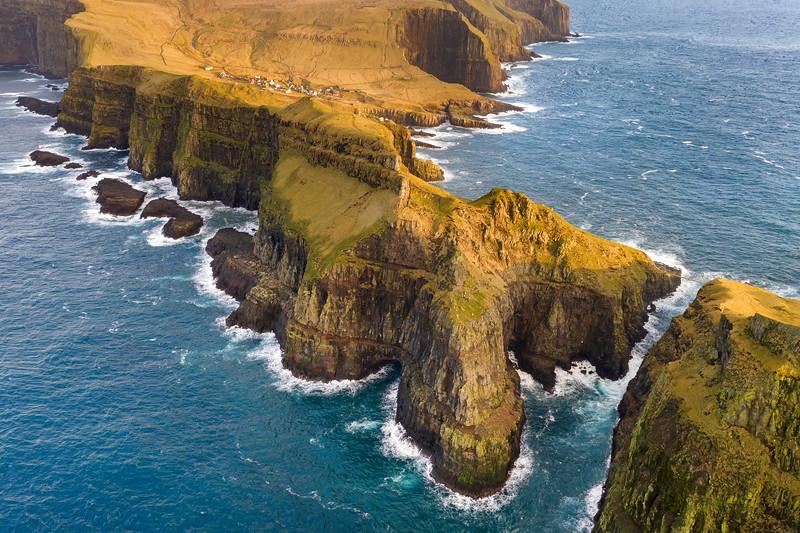 Mykines Cliffs and Coastline Aerial