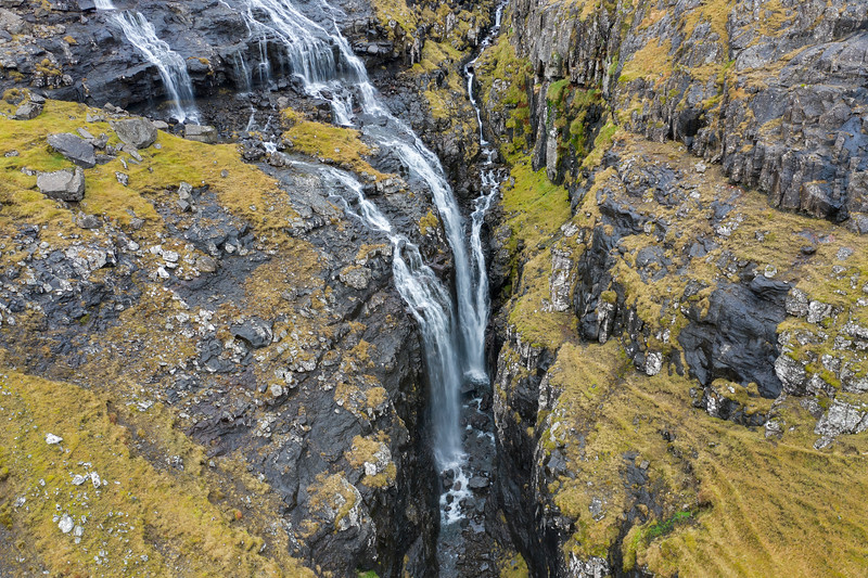 Narrow Gorge Waterfall Aerial