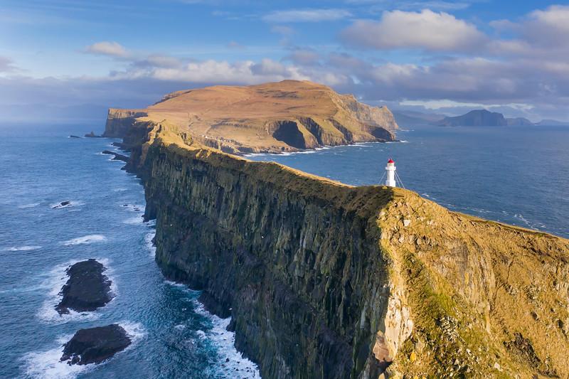 Mykines Holmur Lighthouse and Cliffs Aerial