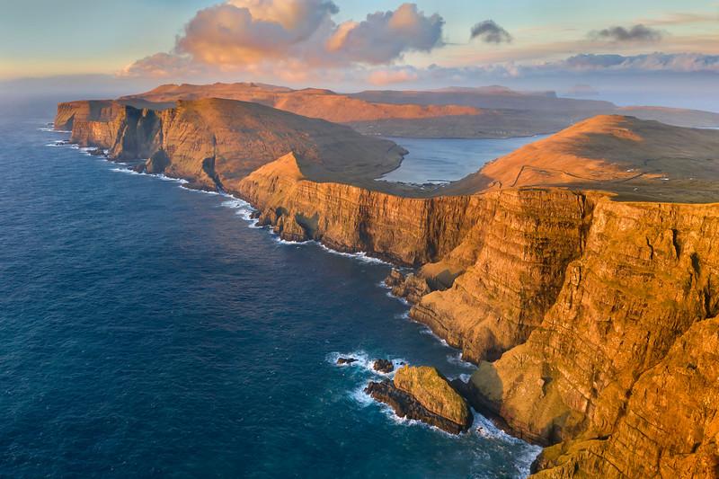 Suduroy Cliffs and Coastline at Sunset