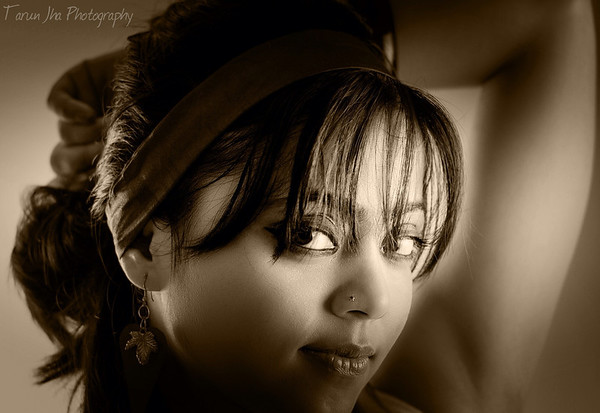 glamorous head shot in sepia tone