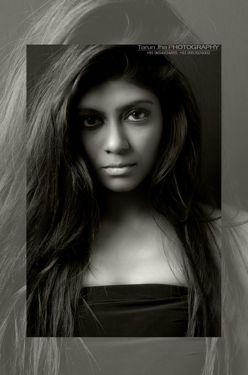 indian girl in black and white