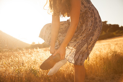 I told her she had to take her socks off because they were showing in her shoes, but even that looked amazing in the golden lighting!