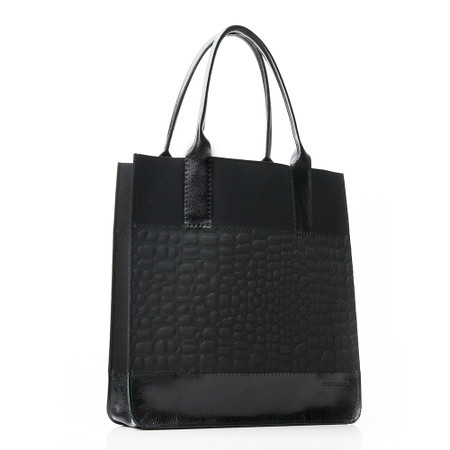 Jaunt tote hand embossed black/black with black leather