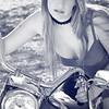 Ferrin in blue tones on blue Harley