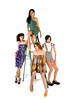 Four fashion models in couture dresses posed around a step ladder