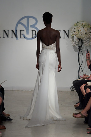 Cariad, a strapless ivory chiffon gown with rose beaded bodice, from Anne Bowen's Spring 2013 Collection called Coat of Arms.