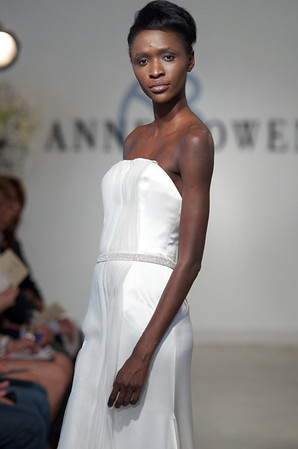 Duchess, an orchid white crepe back satin gown with organza strip detail and prong set crystal beaded belt, from Anne Bowen's Spring 2013 Collection called Coat of Arms.