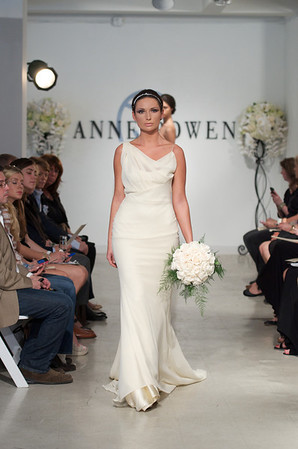 Yorkshire, a champagne georgette gown with draped shoulder detail, from Anne Bowen's Spring 2013 Collection called Coat of Arms.