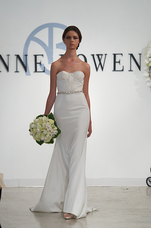 Lady, an orchid white 4-ply silk strapless gown with organza layered bodice, from Anne Bowen's Spring 2013 Collection called Coat of Arms.