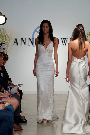 Noble, an ivory, gold, and opaque white beaded halter gown, from Anne Bowen's Spring 2013 Collection called Coat of Arms.