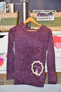 Eggplant hoodie with my Namaste design in cream on the front (also available with design in turquoise on back)